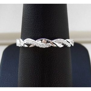 925 STERLING SILVER Braided CZ Band Ring